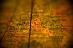 Closeup på GDR av det upplysta jordklotet Royaltyfria Bilder