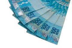 Closeup på område av valuta för brasilian 100 Arkivfoton