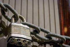 Closeup of padlock and chain Stock Photos