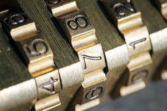 Closeup of padlock combination numbers Royalty Free Stock Photography