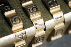 Closeup of padlock combination numbers Royalty Free Stock Photography