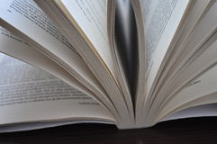 Closeup pages of an open book. Placed on the table Royalty Free Stock Photography