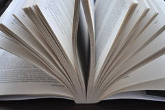 Closeup pages of an open book. Placed on the table Royalty Free Stock Photo