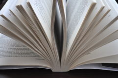 Closeup pages of an open book. Placed on the table Royalty Free Stock Image