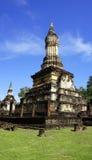 Closeup Pagoda Wat chedi seven rows temple in Sukhothai Stock Photography