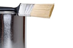 Closeup paint brush on can Royalty Free Stock Image