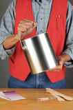 Worker Holding Paint Can Stock Photography