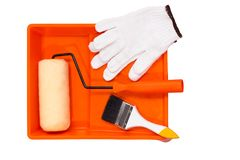 Painting tools. Closeup painting roller tools work paint on white background royalty free stock images