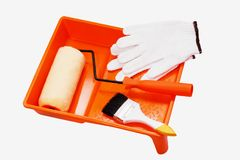 Painting tools. Closeup painting roller tools work paint on white background royalty free stock photo