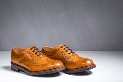 Closeup of Pair of Luxury Male Full Broggued Tan Leather Oxfords stock image