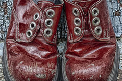 Closeup of pair red laced up boots, HDR. Closeup of pair red laced up boots stock photos