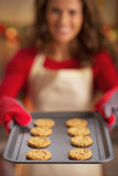 Closeup on pan with christmas cookies in hand of housewife Royalty Free Stock Photos