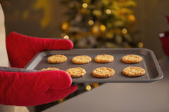 Closeup on pan with christmas cookies in hand of young housewife Royalty Free Stock Photography