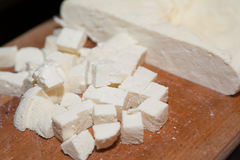 Closeup of paneer cut into pieces Royalty Free Stock Image