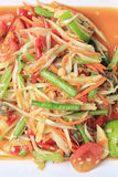 Closeup papaya salad of thai foods, SOMTUM. Closeup papaya salad of thai foods, SOMTUM is food of popular in Thailand Stock Image