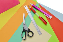 Closeup of papers and tools Stock Images