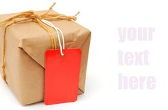 Closeup parcel gift Royalty Free Stock Image