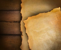 Closeup of parchment paper on wood Royalty Free Stock Photography