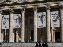 Closeup of Paris Pantheon posters for Resistance exhibit. Paris, France, August 29, 2015; Posters on Pantheon pillars advertise French Resistance exhibit Royalty Free Stock Image