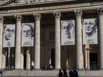 Closeup of Paris Pantheon posters for Resistance exhibit Royalty Free Stock Image