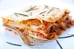 Closeup part of lasagna Stock Photos