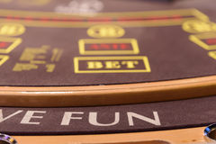 Closeup of part of poker table. A part of poker table with fun lable Royalty Free Stock Images