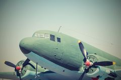 Closeup part retro plane with propellers Royalty Free Stock Photography