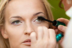 Closeup part of woman face eye makeup detail. Royalty Free Stock Photo