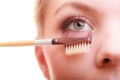 Closeup part of woman face eye makeup detail. Stock Photo