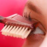 Closeup part of woman face eye makeup detail. Royalty Free Stock Photos