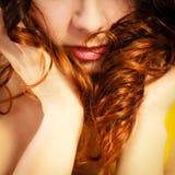 Closeup part of woman face long curly hair Stock Photos