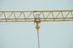 Closeup on part of yellow construction crane chain Royalty Free Stock Photos