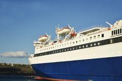 Closeup of a passenger ship at sea. In the summer stock image