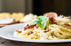 Closeup of Pasta Carbonara. Spaghetti with bacon and parmesan cheese. Stock Photos