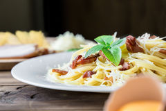 Closeup of Pasta Carbonara. Spaghetti with bacon and parmesan cheese. Royalty Free Stock Photos