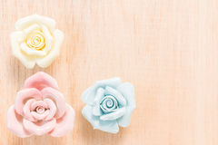 Closeup Pastel Rose on wooden background Royalty Free Stock Photos