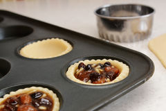Closeup of pastry case filled with traditional mincemeat Royalty Free Stock Image