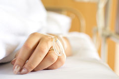 Closeup of a Patient hand. With Disposable Infusion Stock Photo
