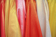 Colorful glitter silk fabric Stock Photos