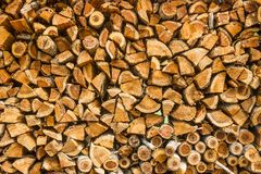 Closeup pattern of cutting wood stack for background Royalty Free Stock Image