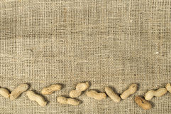 Closeup Peanuts on burlap Stock Photography