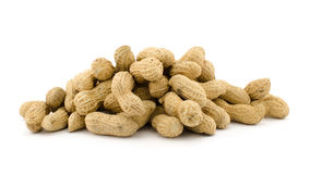 Closeup of Peanuts. Isolated on white background Stock Image