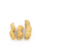 Closeup of Peanuts. Isolated on white background Stock Images