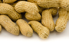 Closeup of Peanuts. Macro closeup of Peanuts,  on white background Royalty Free Stock Images