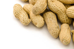 Closeup of Peanuts. Macro closeup of Peanuts,  on white background Stock Photography