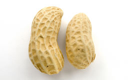 Closeup of Peanuts. Macro closeup of Peanuts,  on white background Stock Image