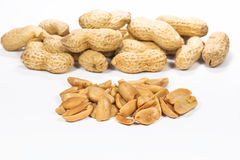 Closeup Peanuts. For white background Royalty Free Stock Photo