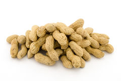 Closeup of Peanuts. On white background Stock Photography