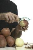 Closeup Peeling Potato Royalty Free Stock Images