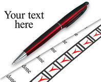 Closeup pen marked done things on white Royalty Free Stock Photos